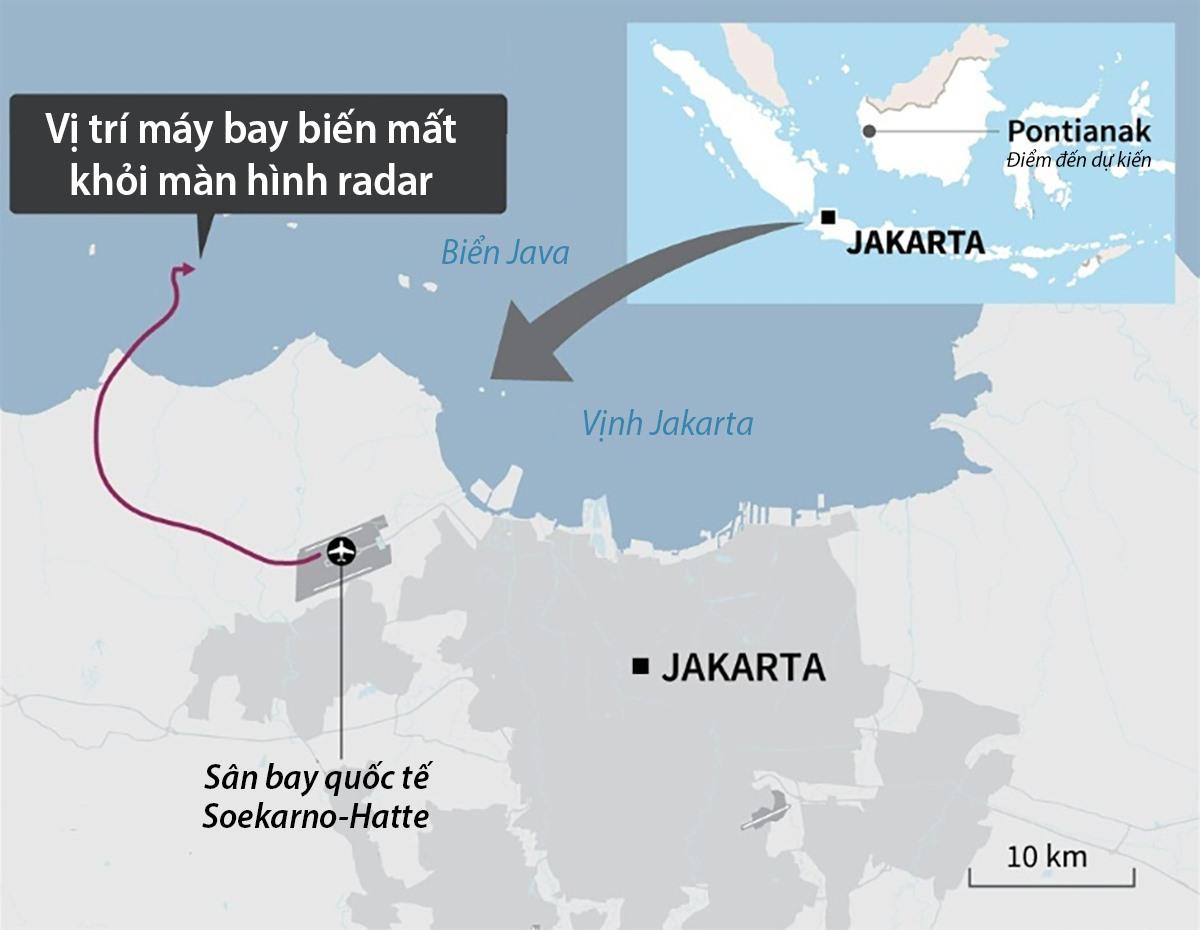 Đường bay và vị trí chiếc Boeing 737-500 của hãng Sriwijaya Air biến mất khỏi radar hôm 9.1. Đồ họa: AFP.