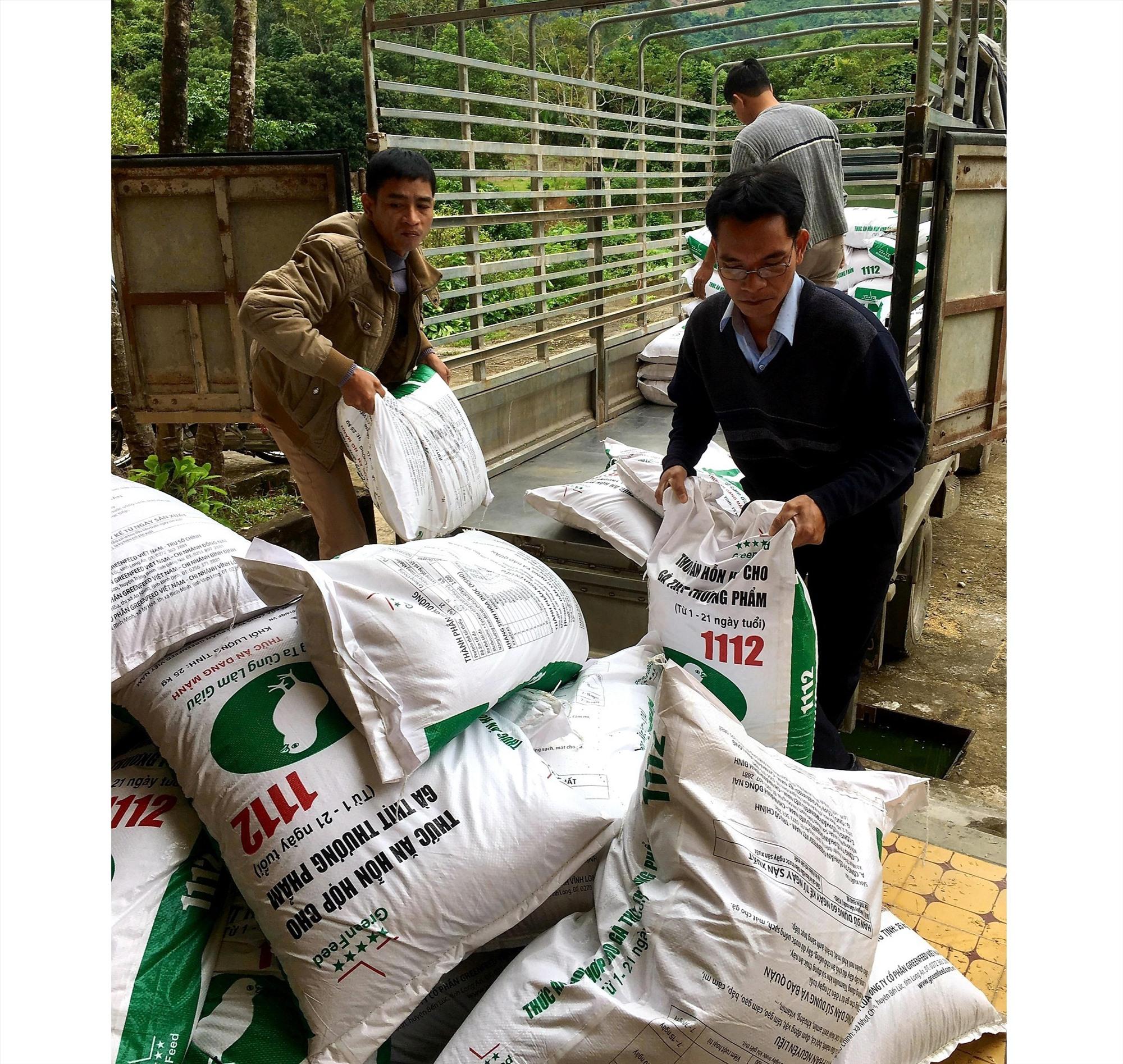 Huyện Nam Giang tiếp nhận nguồn thức ăn hỗn hợp do tỉnh hỗ trợ. Ảnh: CNTY
