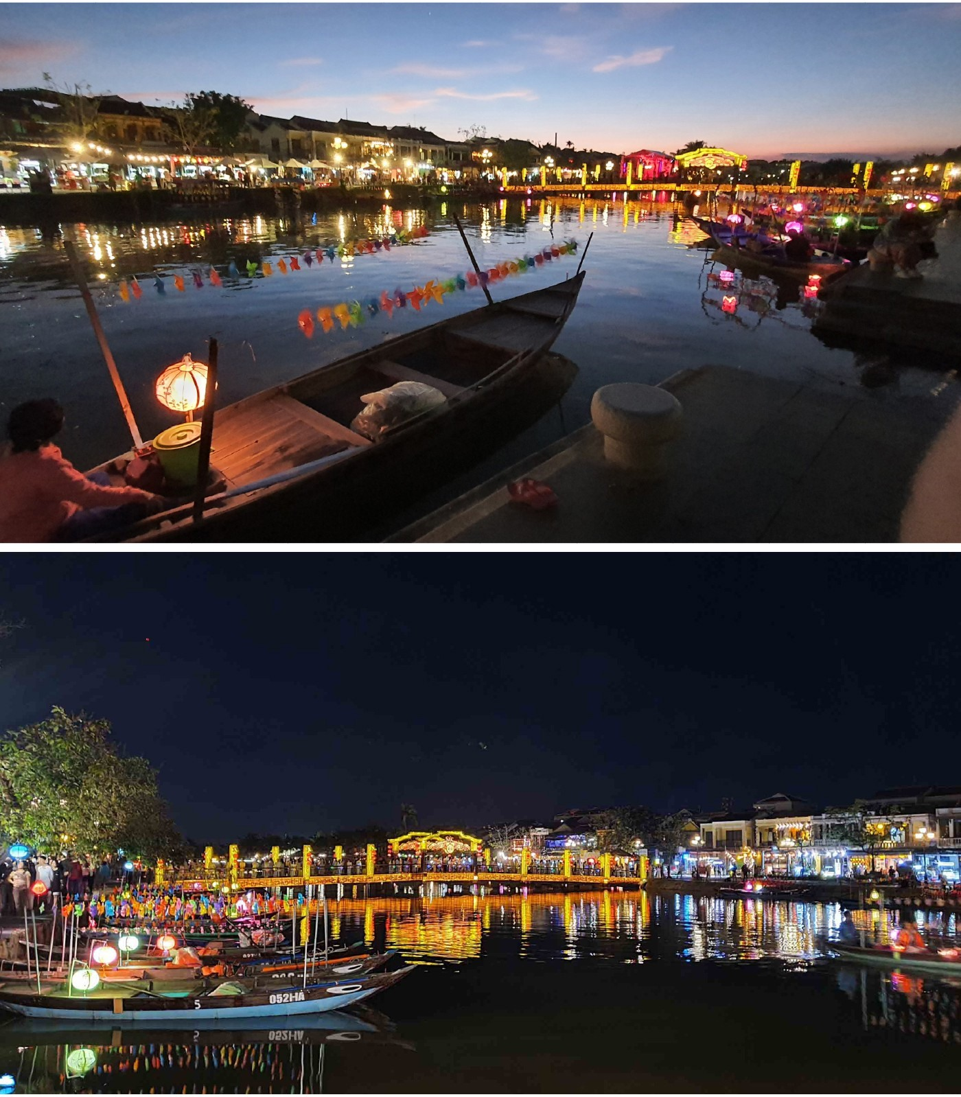 Flower garlands and colourful lanterns on the Hoai river
