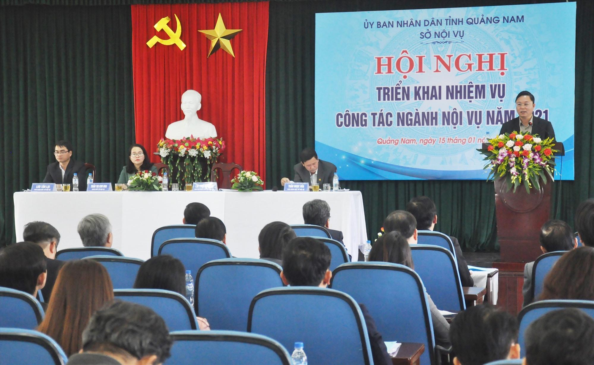 Quang cảnh hội nghị tổng kết công tác ngành nội vụ tỉnh chiều 15.1. Ảnh: N.Đ