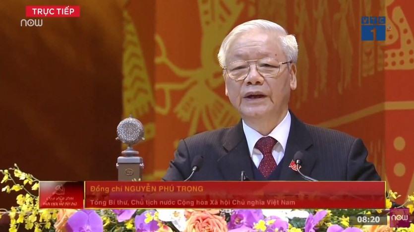 Tổng Bí thư, Chủ tịch nước Nguyễn Phú Trọng trình bày báo cáo của Ban Chấp hành Trung ương khóa XII, báo cáo kiểm điểm sự lãnh đạo, chỉ đạo của Ban Chấp hành Trung ương khoá XII