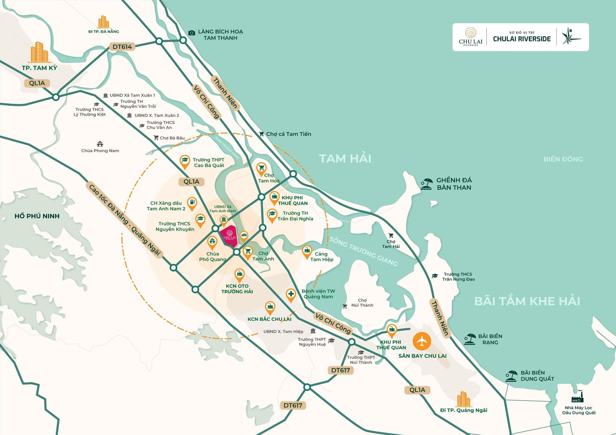 Chu Lai Riverside nằm ở tâm điểm Khu kinh tế mở Chu Lai, sân bay Chu Lai, sở hữu mặt tiền sông Trường Giang, kết nối trục đường Đà Nẵng – Hội An – Chu Lai