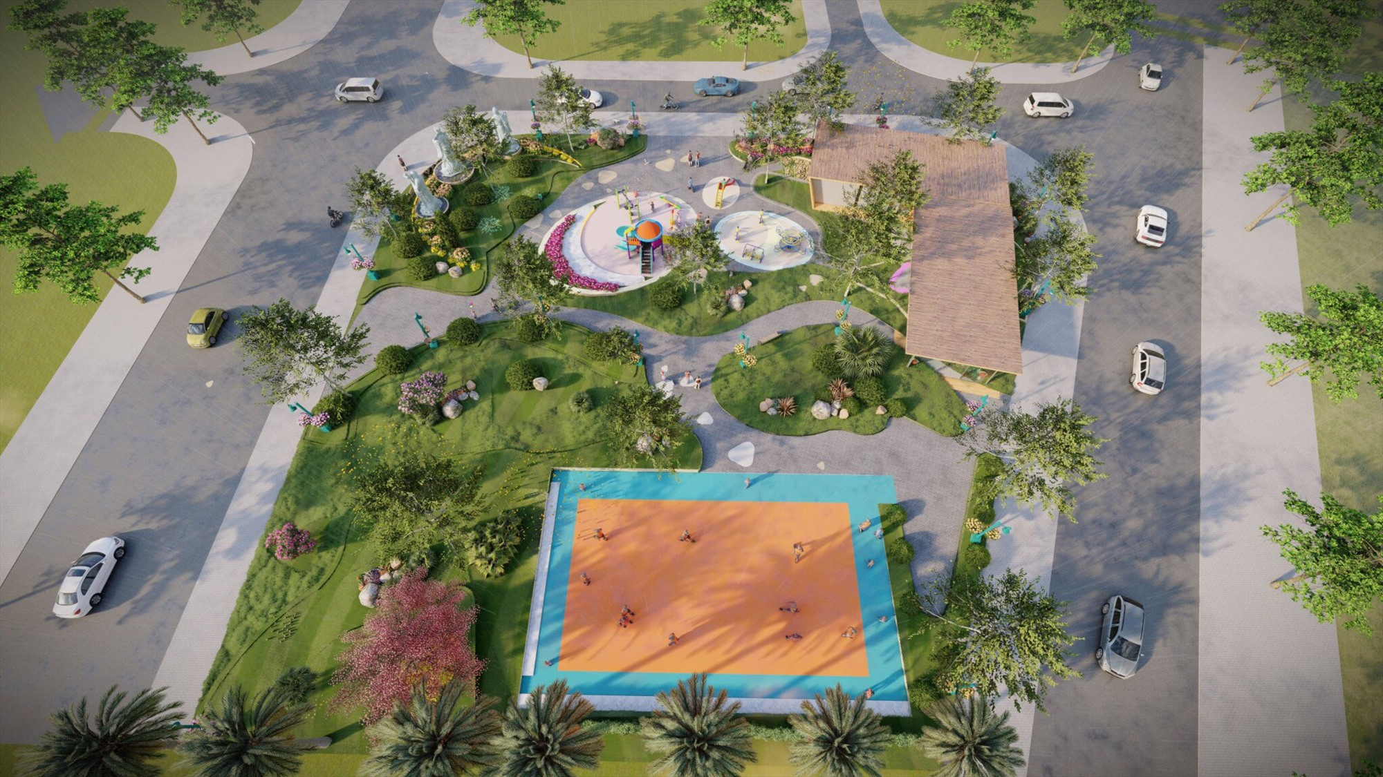 Các tiện ích như Công viên Phúc Lộc Thọ đang được thi công.