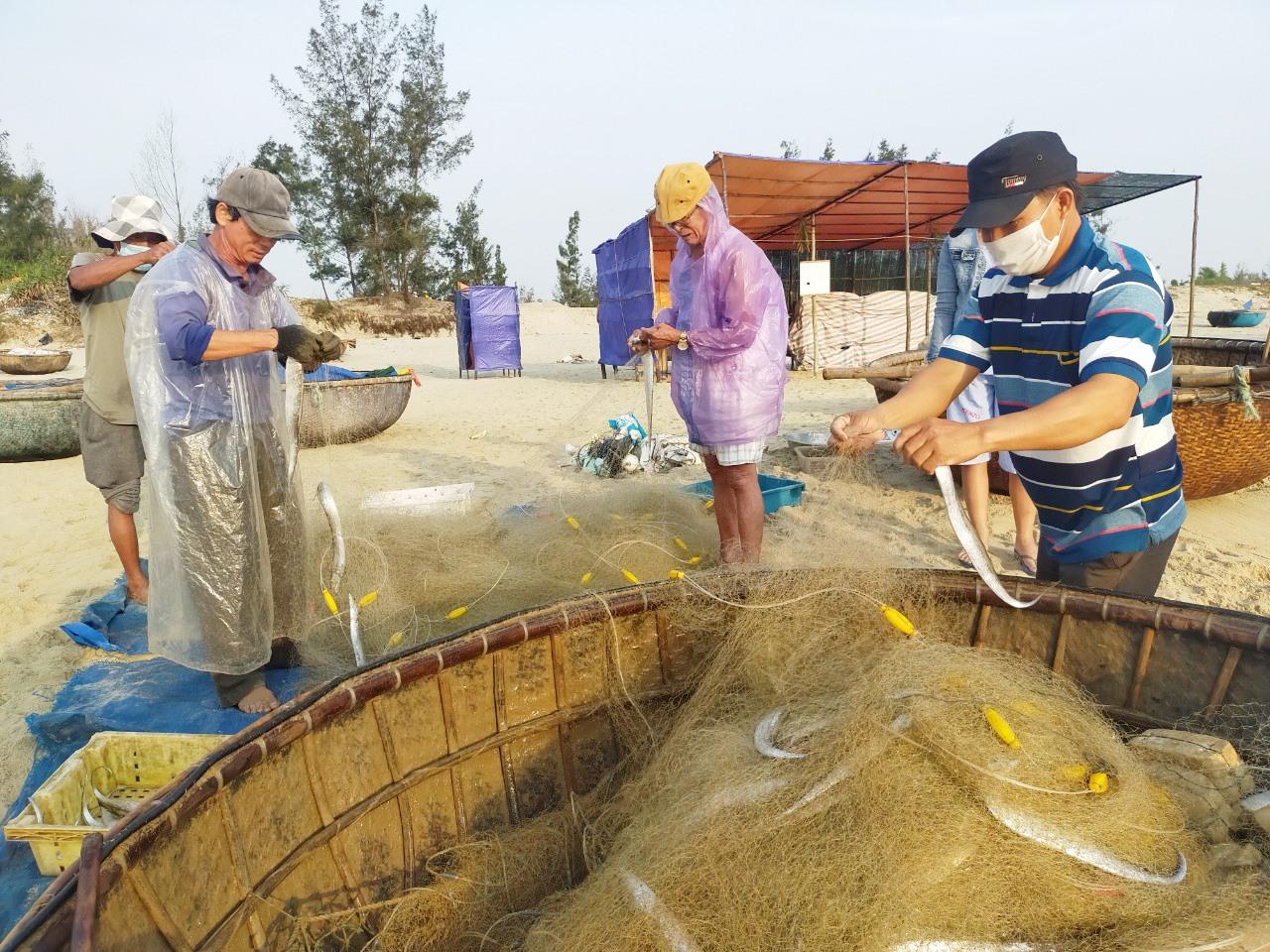Người dân ven biển Duy Xuyên tranh thủ khai thác hải sản gần bờ trước khi mùa mưa bão đến. Ảnh: Q.T