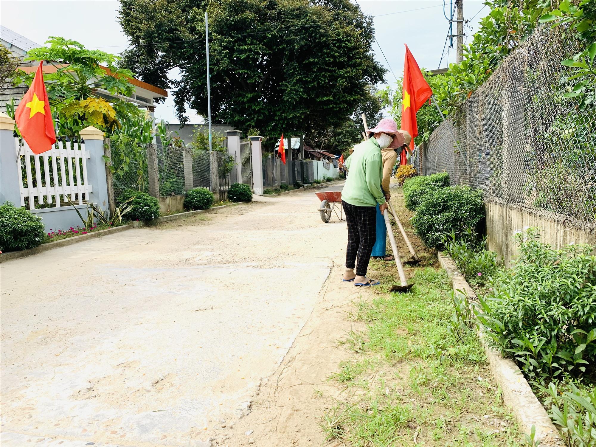 Mô hình tuyến đường hoa thay cỏ dại đã và đang có sức lan tỏa trong cộng đồng dân cư ở Duy Xuyên. Ảnh: T.L