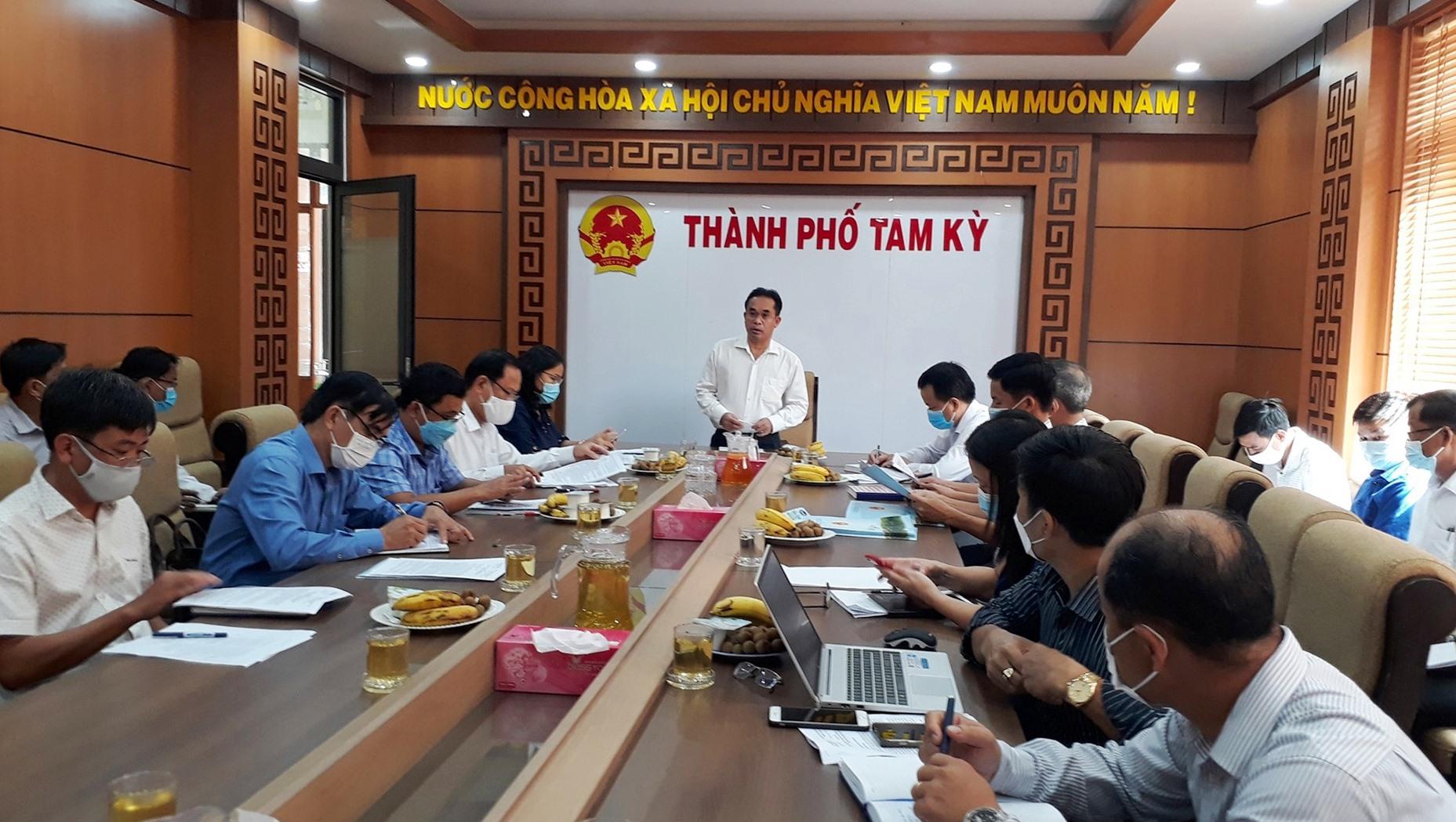 Phó Chủ tịch UBND tỉnh Trần Anh Tuấn đánh giá cao kết quả đạt được trong xây dựng NTM của Tam Kỳ. Ảnh: X.P