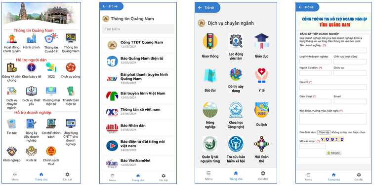 """Một số giao diện của ứng dụng """"Smart Quang Nam""""."""