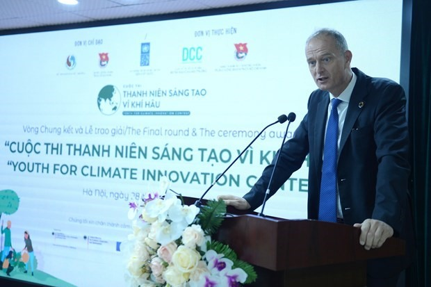 Patrick Haverman, Deputy Resident Representative of UNDP in Vietnam, speaks at the final round and award ceremony of the contest in Hanoi on September 28 (Photo: VNA)
