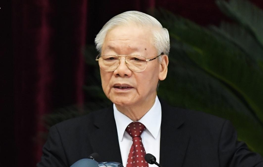 Tổng Bí thư Nguyễn Phú Trọng phát biểu bế mạc Hội nghị Trung ương 4 khóa XIII. (Ảnh: Ngọc Thành)