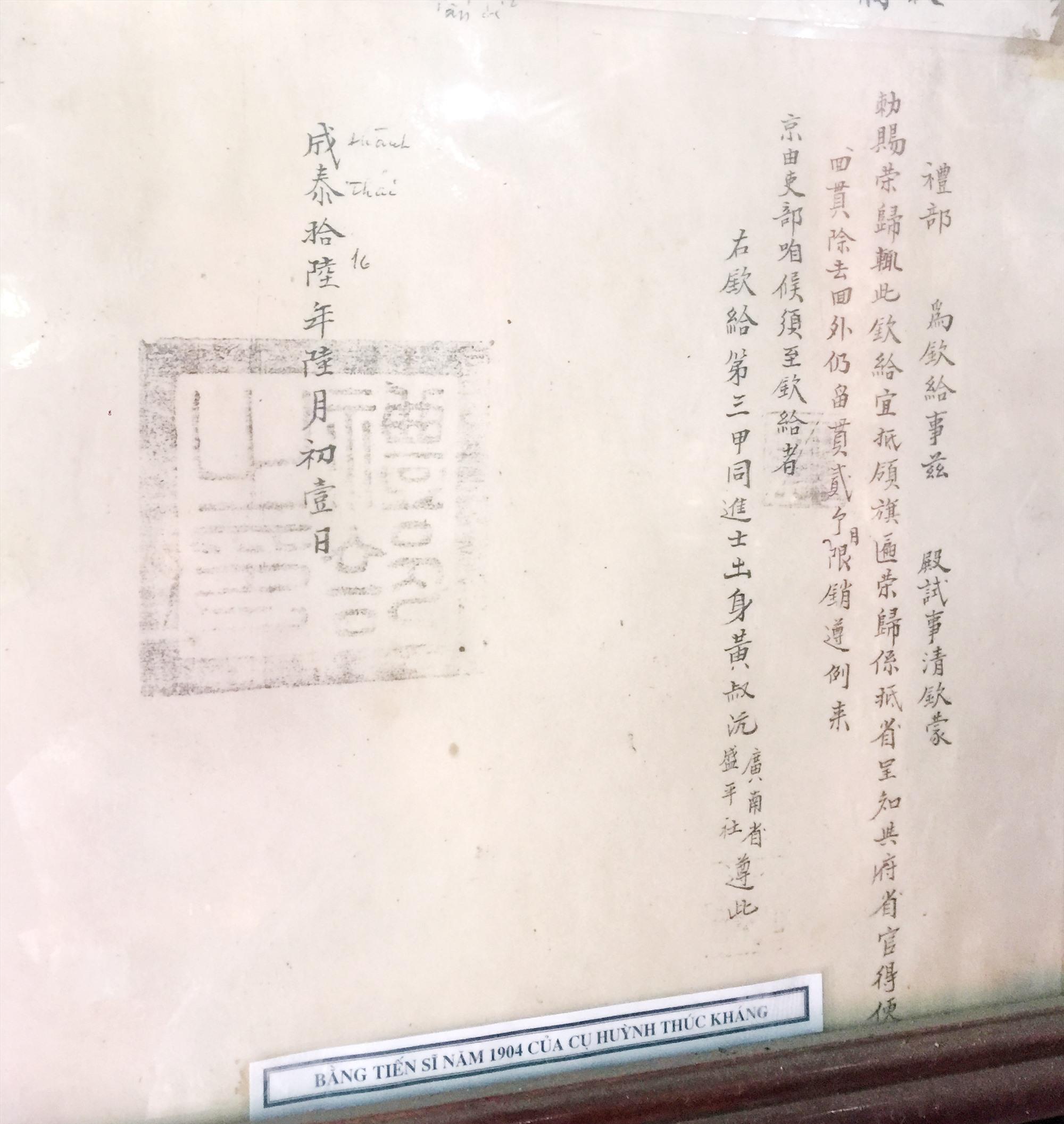 Bằng chứng nhận Tiến sĩ Huỳnh Thúc Kháng.
