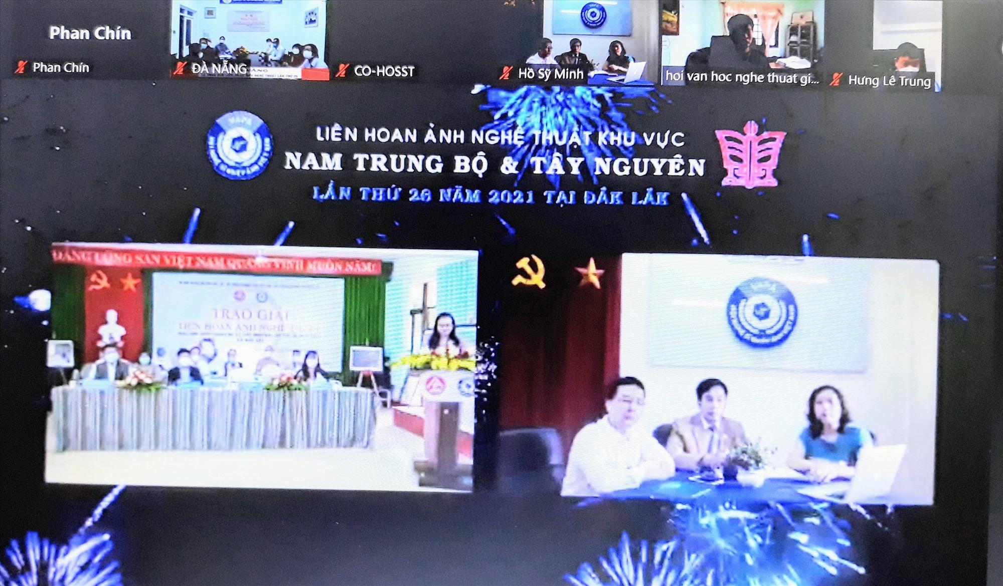 Các điểm cầu tại lễ tổng kết và trao giải Liên hoan Ảnh nghệ thuật khu vực V lần thứ 26. (Ảnh chụp qua màn hình)