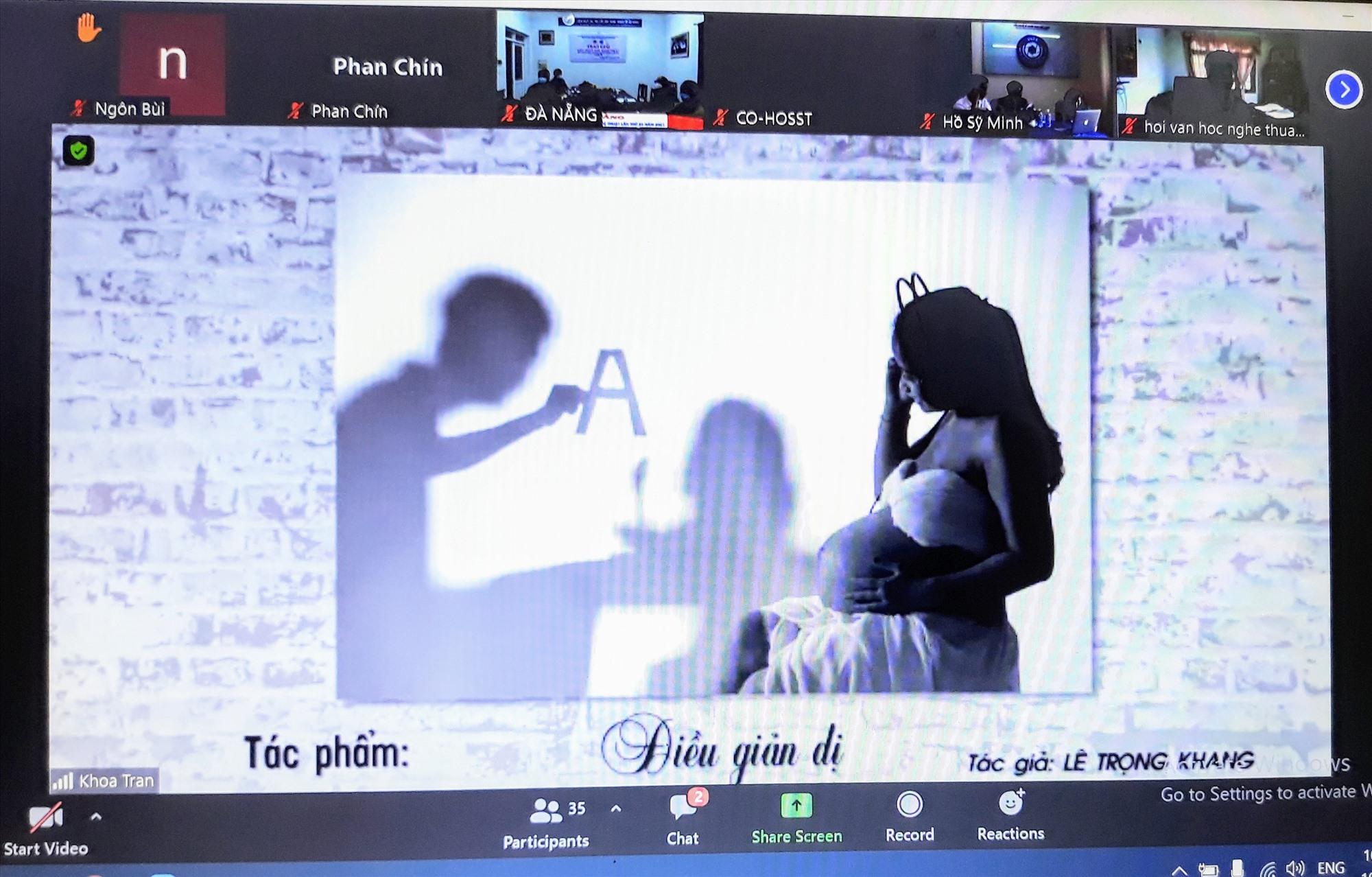 """Tác phẩm """"Điều giản dị"""" của tác giả Lê Trọng Khang (Quảng Nam) được vinh danh (ảnh chụp qua màn hình)."""