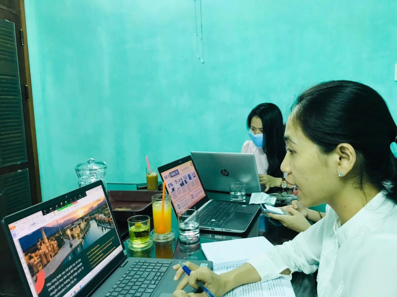 Điểm cầu trực tuyến Quảng Nam tham gia hội chợ du lịch quốc tế Busan (Hàn Quốc) 2021. Ảnh: Q.T