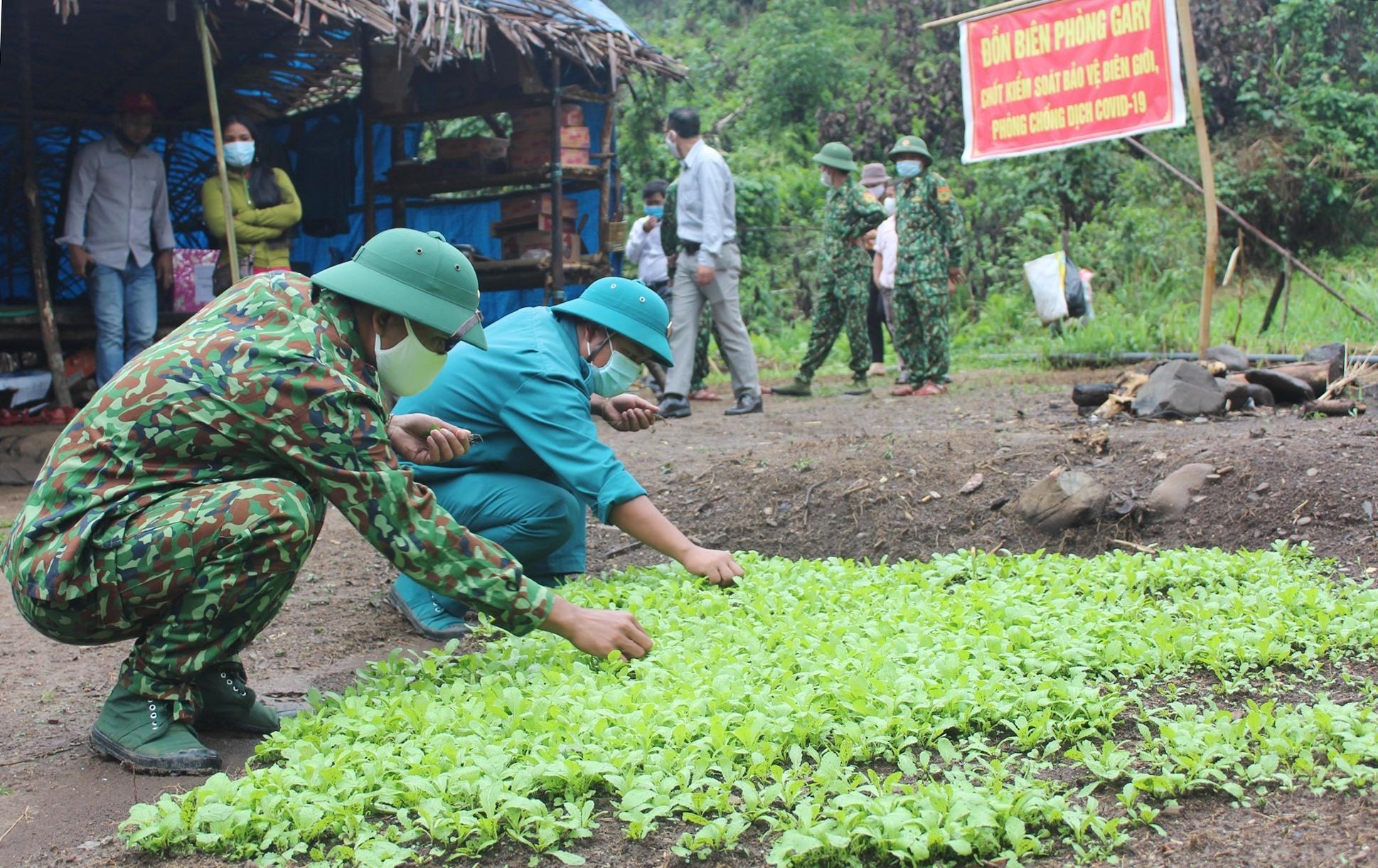 Còn các chiến sĩ Chốt kiểm soát bảo vệ biên giới, phòng chống dịch Covid-19 tại điểm Glao (xã GaRy), các ăn tự trồng rau, nuôi gà, vịt để cải thiện cuộc sống...