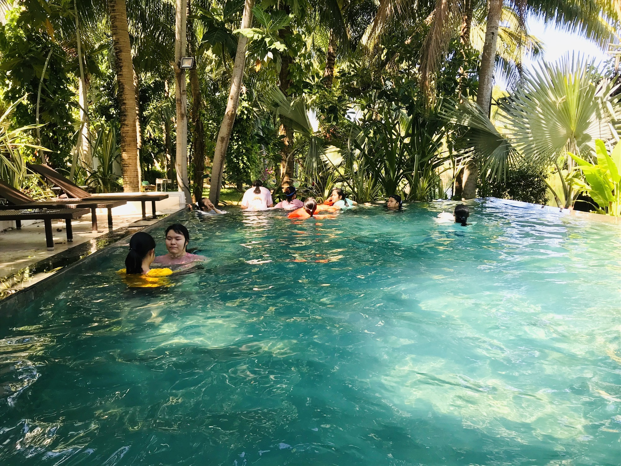 A swimming pool in a villa