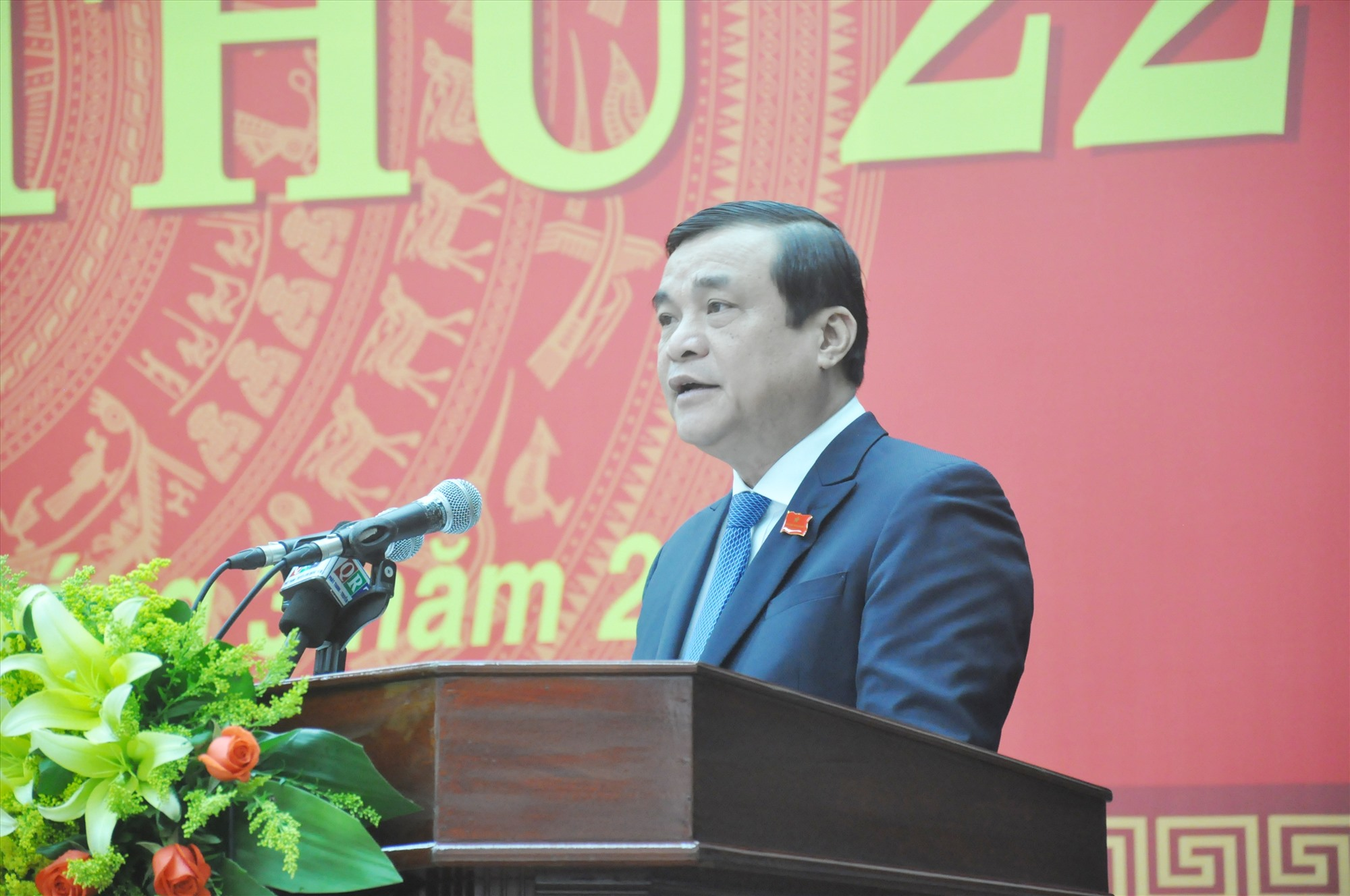 Bí thư Tỉnh ủy, Chủ tịch HĐND tỉnh Phan Việt Cường phát biểu khai mạc Kỳ họp thứ 22 vào sáng nay 16.3. Ảnh: N.Đ