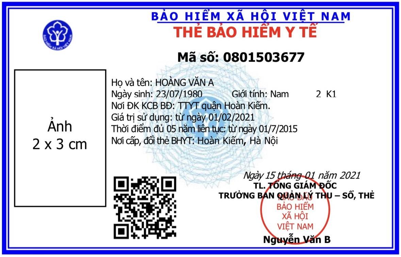 Mẫu thẻ BHYT mới cấp cho người dân từ ngày 1.4. Ảnh: BHXH Việt Nam