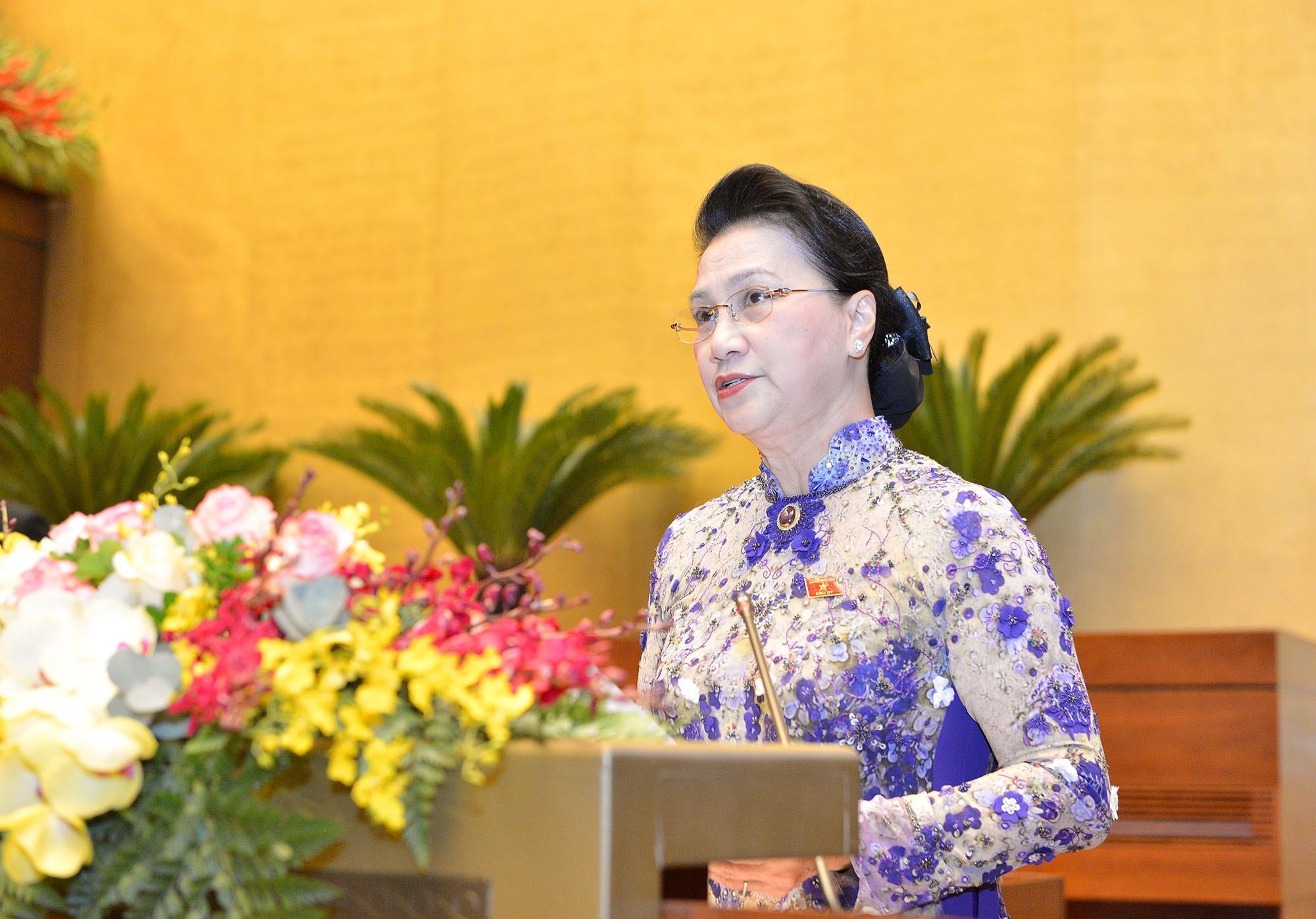 Chủ tịch Quốc hội Nguyễn Thị Kim Ngân phát biểu khai mạc Kỳ họp thứ 11 Quốc hội khóa XIV