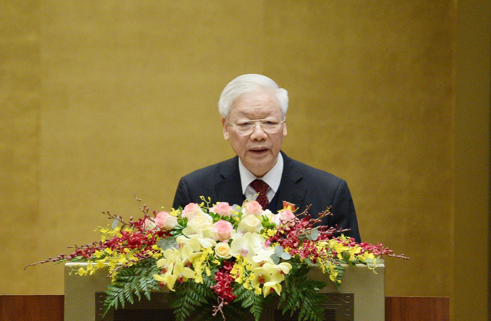 Chủ tịch nước Nguyễn Phú Trọng báo cáo trước Quốc hội