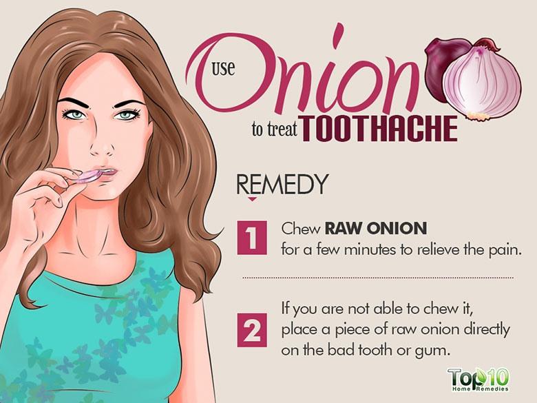 Hành tây có tính chất khử trùng và kháng khuẩn để kiểm soát đau răng. Nó có thể giúp giảm đau bằng cách diệt vi trùng gây nhiễm trùng. Bạn có thể nhai hành tây trực tiếp trong vài phút để giảm đau.