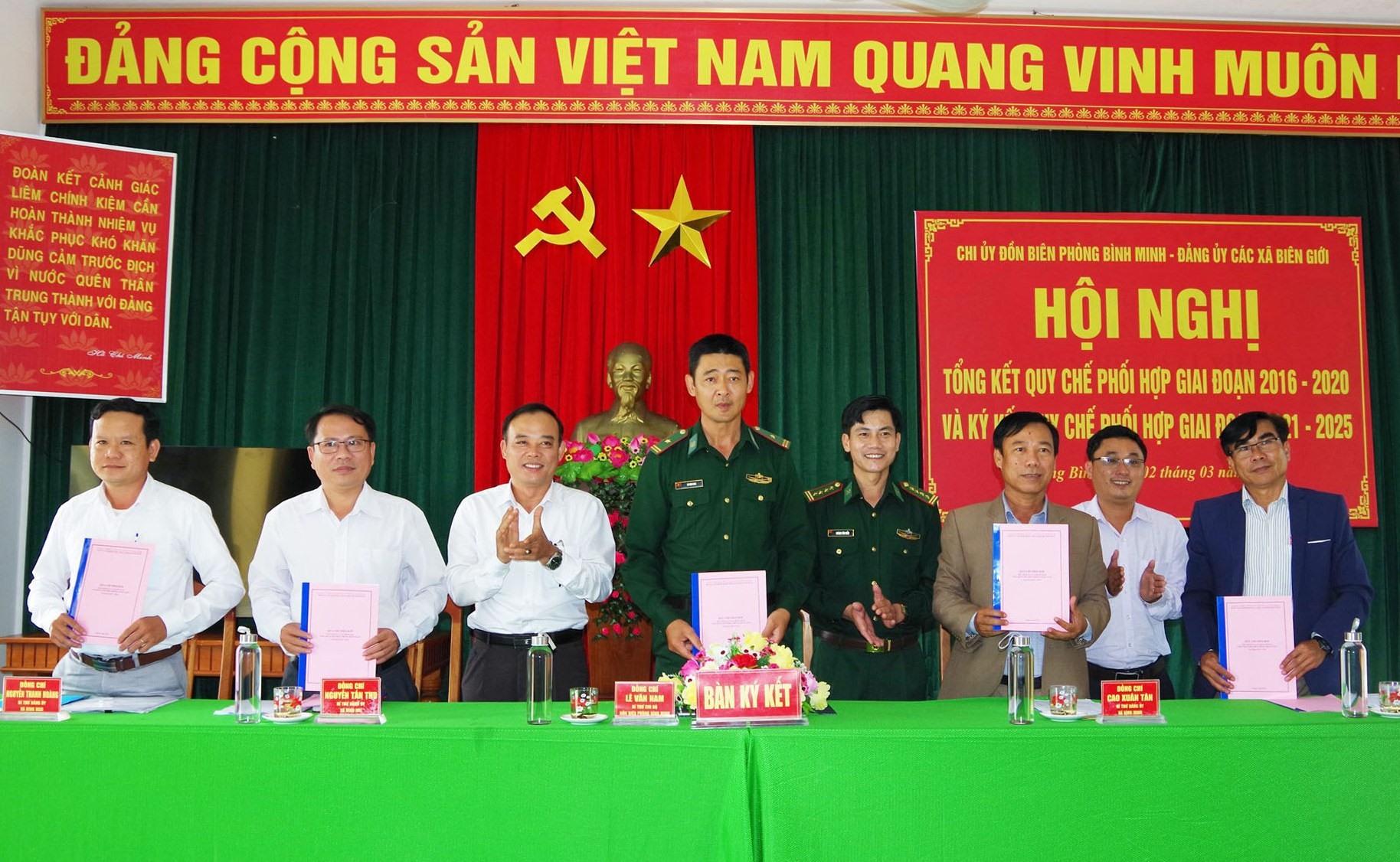 Chi ủy Đồn Biên phòng Bình Minh và Đảng ủy 4 xã Bình Minh, Bình Dương, Bình Hải và Bình Nam (Thăng Bình) tổng kết quy chế phối hợp