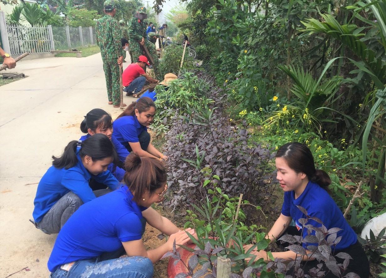 Thanh niên Phú Ninh ra quân trồng cây xanh tại thôn Xuân Điền. Ảnh: CTV