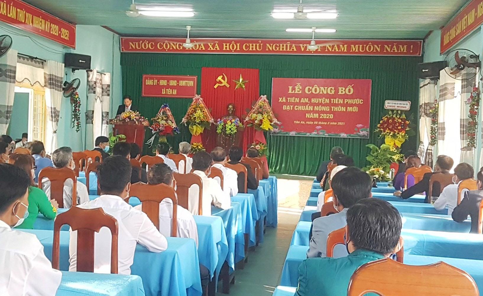 Xã Tiên An tổ chức lễ đón nhận xã nông thôn mới vào sáng nay. Ảnh: D.L