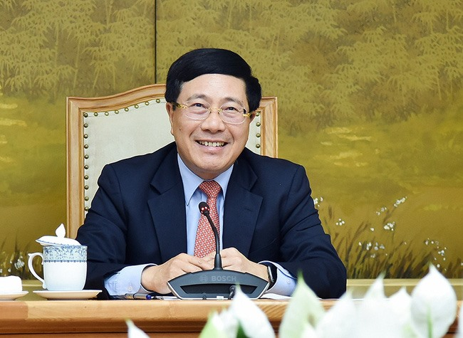 Deputy Prime Minister and Minister of Foreign Affairs Pham Binh Minh during the online talks. (Photo: VGP)