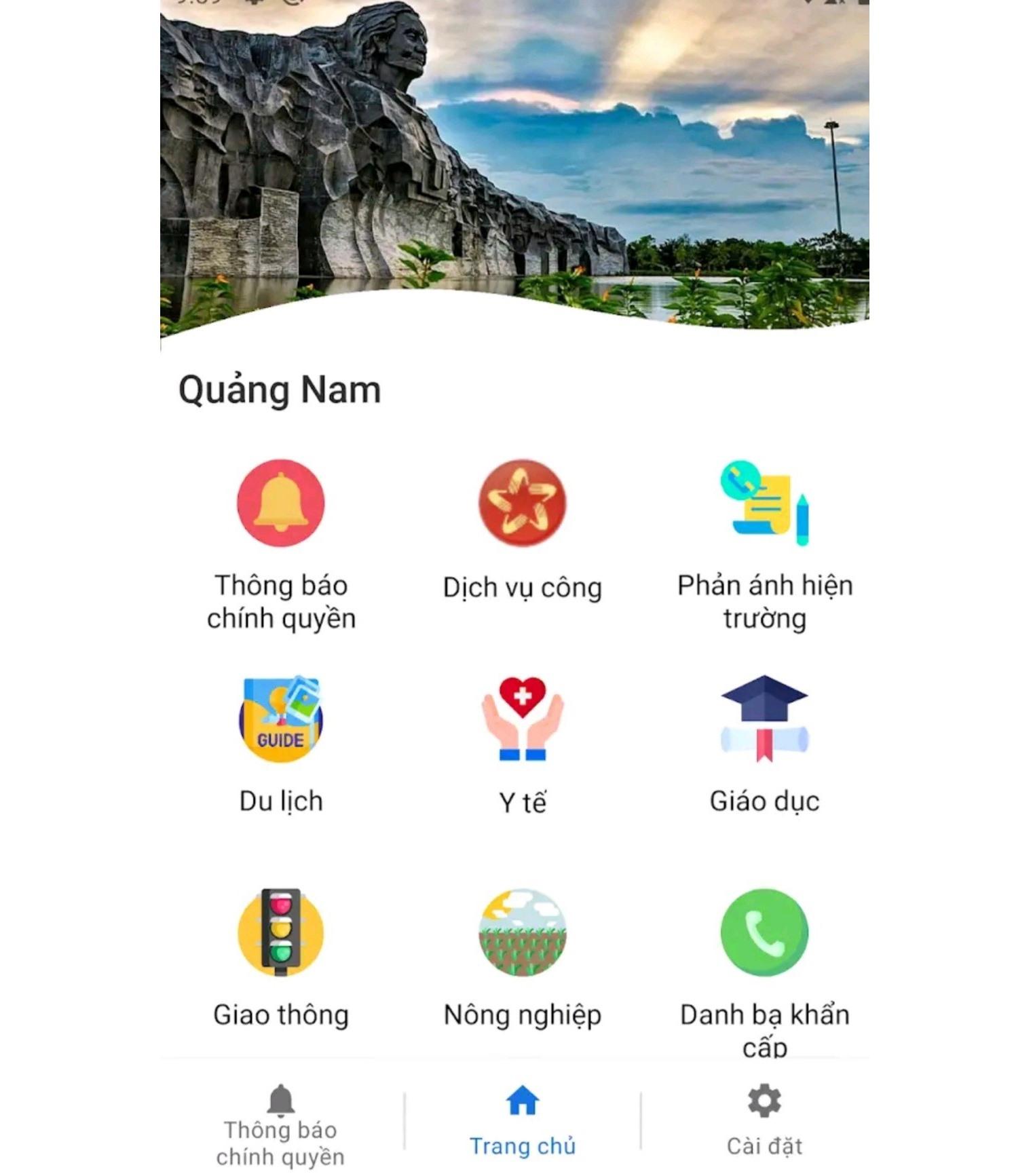 Giao diện sử dụng của app Smart Quang Nam. Ảnh: H.ĐẠO