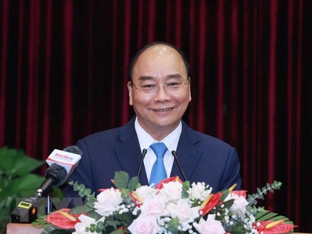 Chủ tịch nước Nguyễn Xuân Phúc phát biểu tại buổi làm việc. (Ảnh: Thống Nhất/TTXVN
