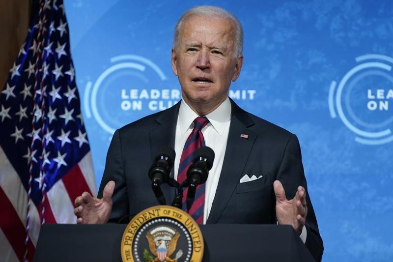 Tổng thống Mỹ Joe Biden chủ trì hội nghị thượng đình trực tuyến về biển đổi khí hậu. Ảnh: AP