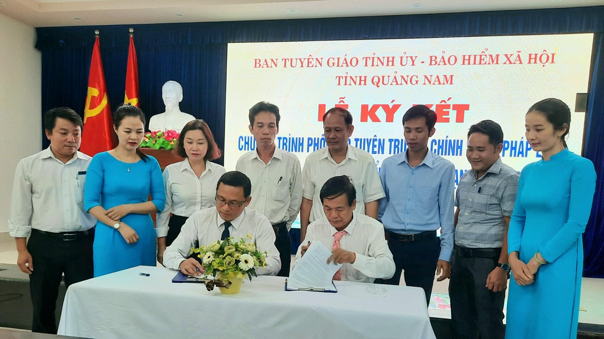 Sự phối hợp giữa Ban Tuyên giáo Tỉnh ủy và BHXH Quảng Nam sẽ giúp đẩy mạnh công tác phổ biến, tuyên truyền, thực hiện tốt chủ trương, chính sách, pháp luật về BHXH, BHYT đến nhân dân. Ảnh: H.ĐẠO