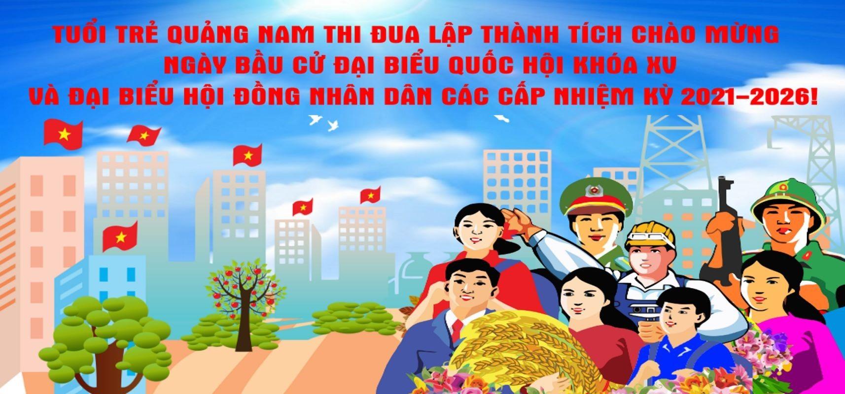 Pa nô tuyên truyền bầu cử của tuổi trẻ Quảng Nam. Ảnh: V.A