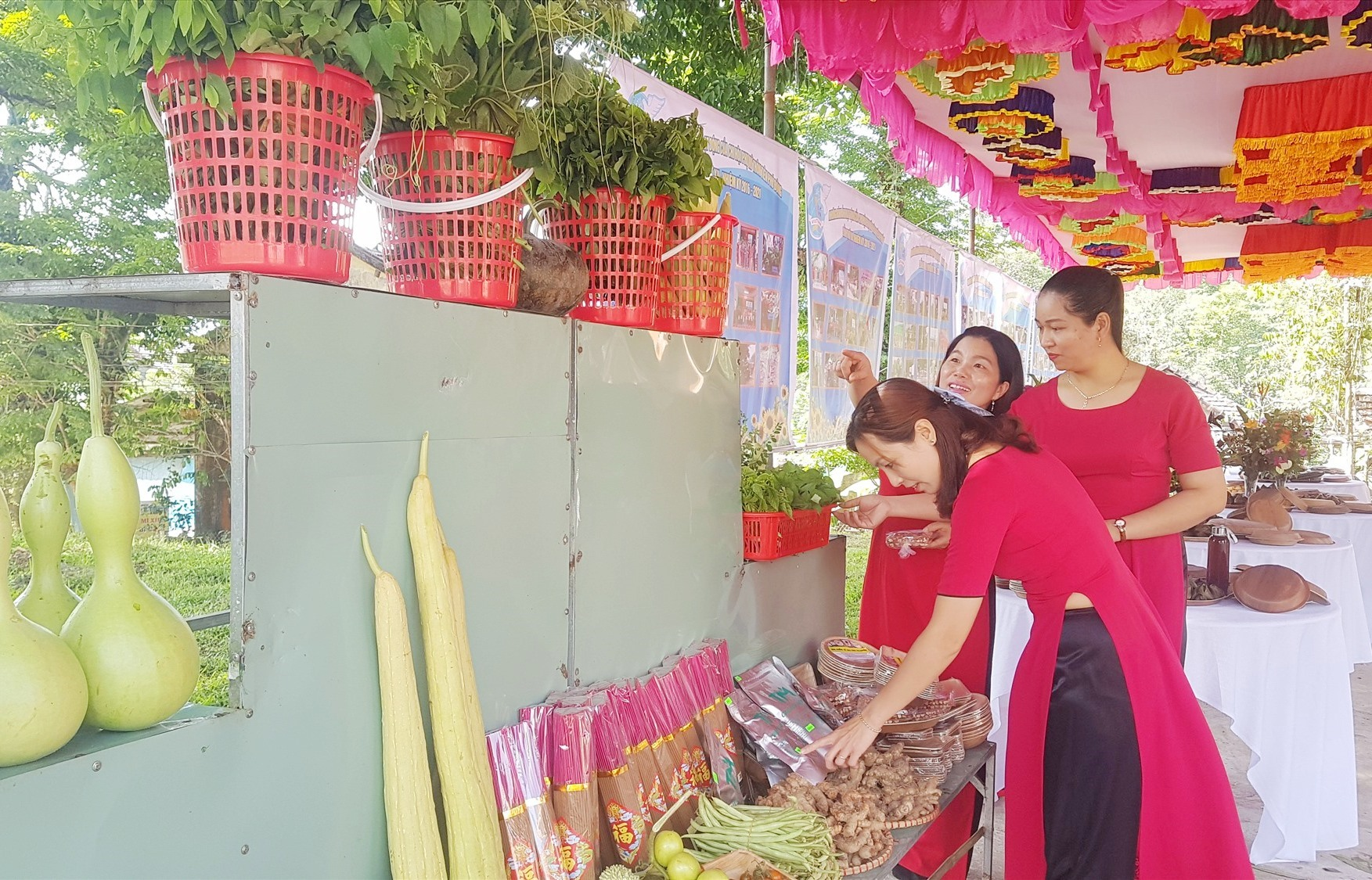 Sản phẩm nông nghiệp của phụ nữ xã Tiên Mỹ trưng bày tại đại hội. Ảnh: D.L