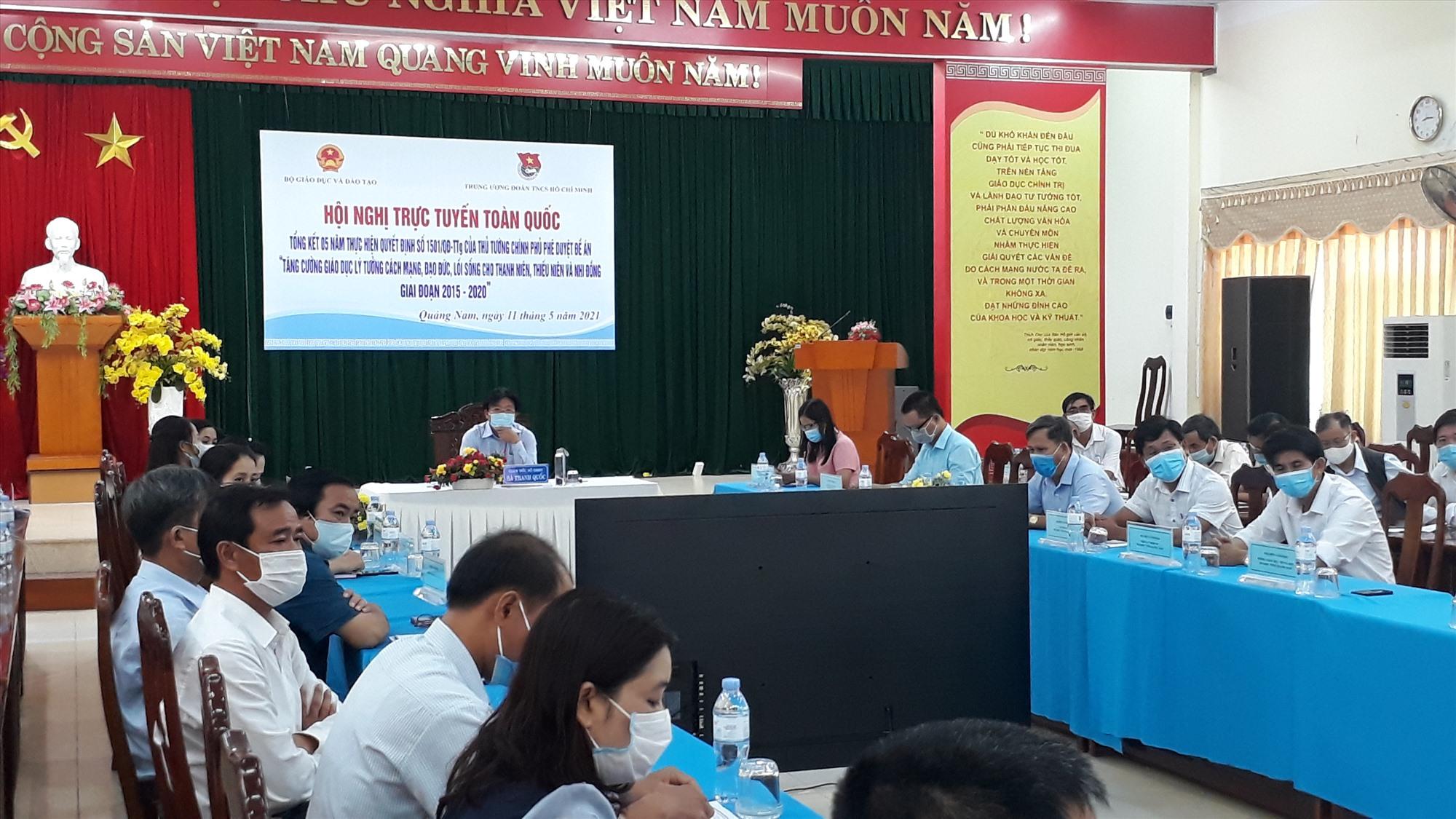 Đầu cầu Quảng Nam tại hội nghị trực tuyến toàn quốc. Ảnh: X.P