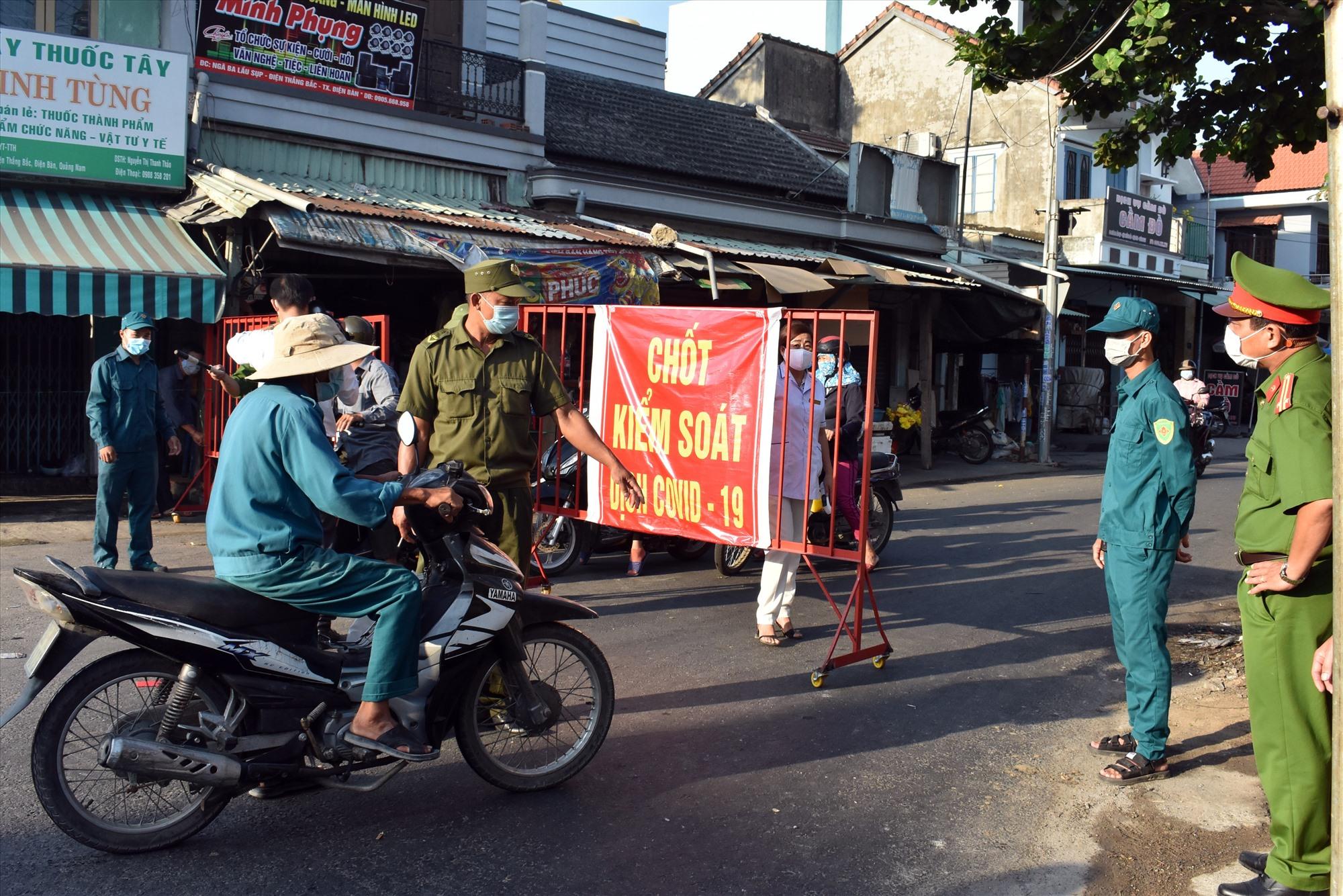 Điện Bàn hiện có 10 chốt kiểm soát dịch Covid trên các tuyến đường liên thôn, liên xã