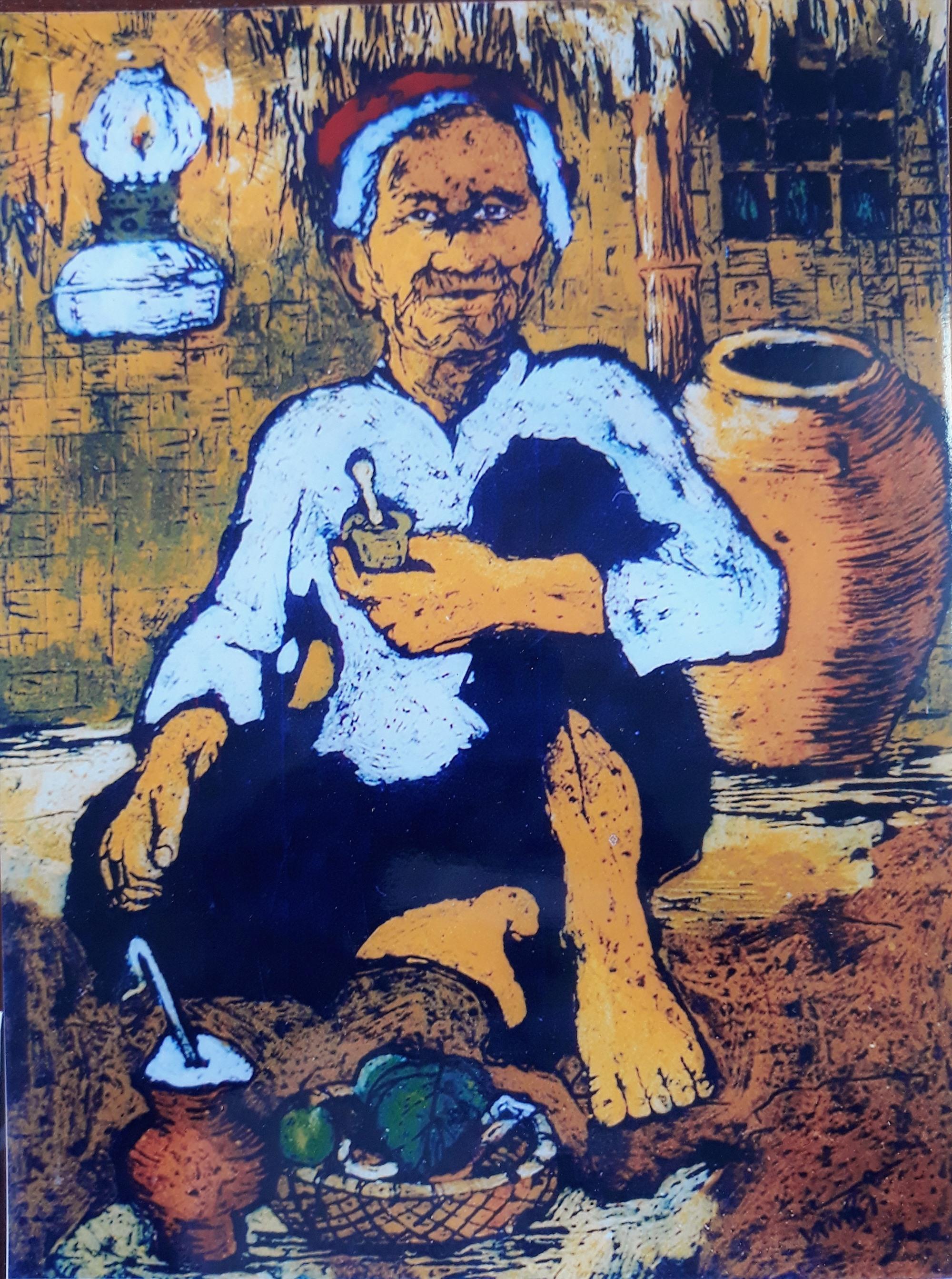 """Tác phẩm """"Mẹ Cộng"""" (Đợi con về) của họa sĩ Trần Văn Binh. Ảnh: Tác giả cung cấp"""