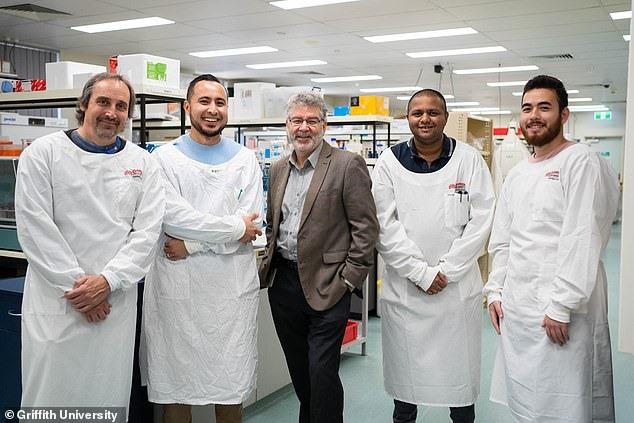 Các nhà nghiên cứu về kháng vi-rút Covid-19 của Đại học Griffith, Australia. Ảnh: @Griffith University