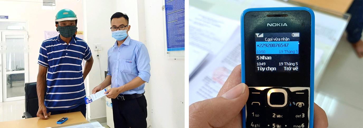 Ông Nguyễn Đông đến Điện lực Quế Sơn báo sự việc nhận cuộc gọi từ điện thoại lạ giả danh nhân viên ngành điện đòi nộp tiền điện. Ảnh: ĐỨC THIỆN