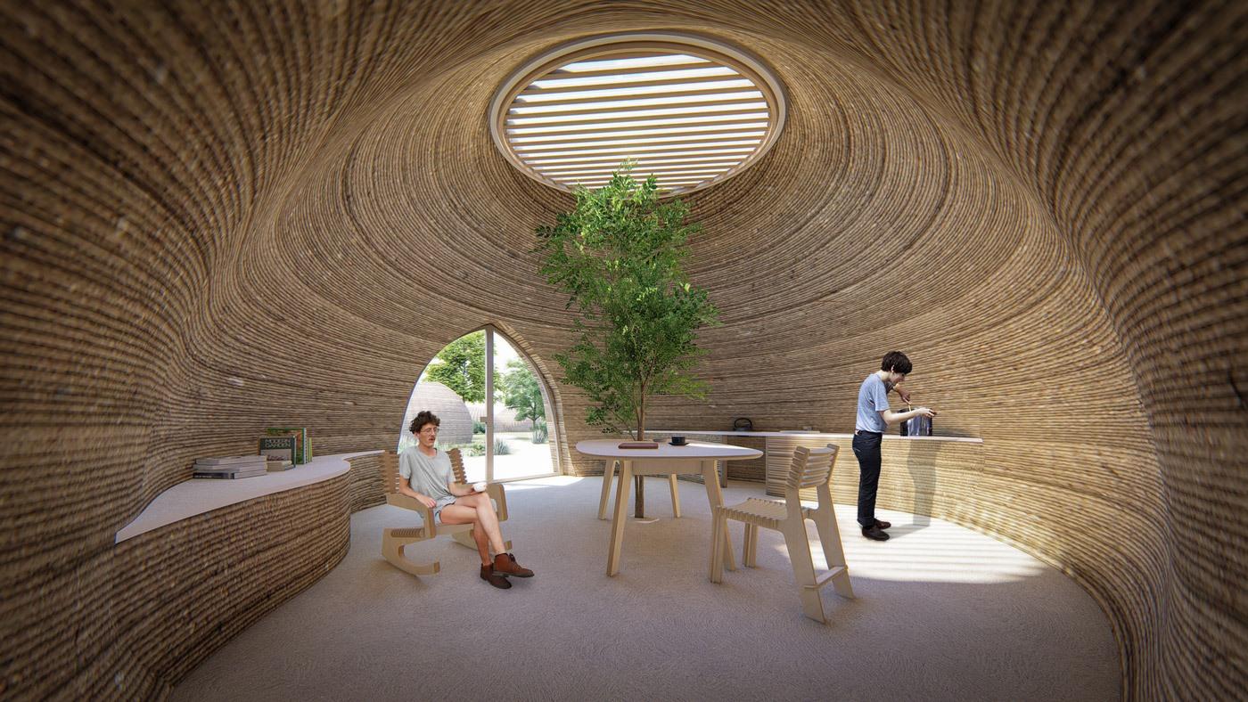 Bên trong ngôi nhà in 3D Tecla thân thiện với môi trường. Ảnh: 3dwasp