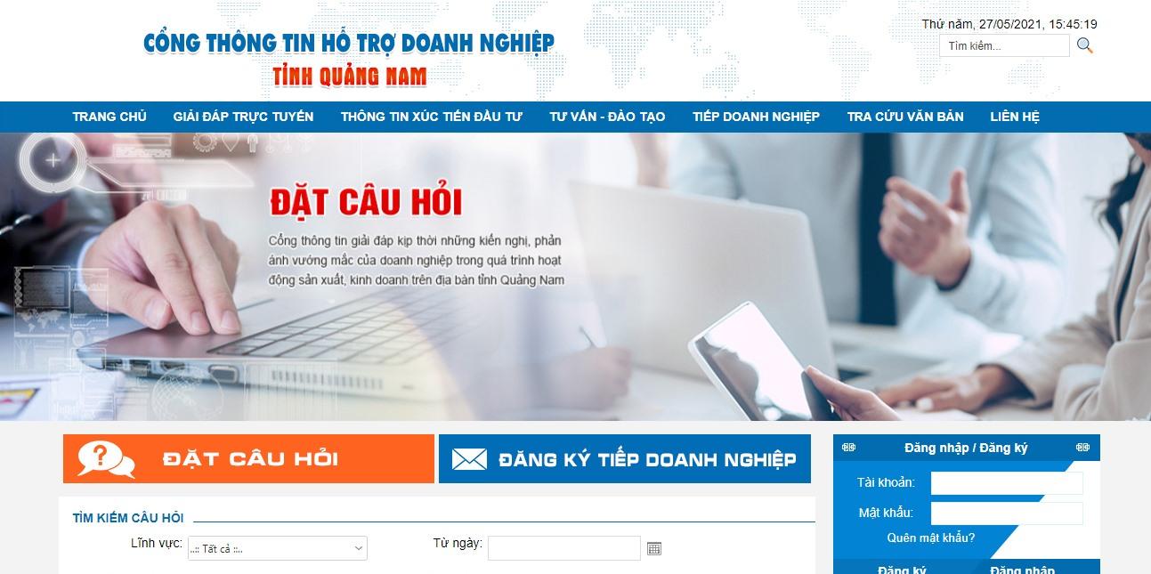 Giao diện Cổng thông tin hỗ trợ doanh nghiệp Quảng Nam. Ảnh: M.H