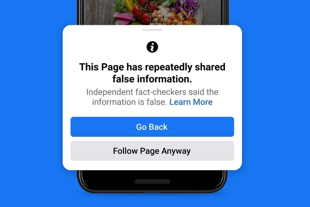 Không chỉ các bài đăng có thông tin sai lệch sẽ ít được hiển thị hơn, mà cả những người dùng cá nhân chia sẻ những thông tin này cũng nhận hậu quả tương tự. Ảnh: Facebook