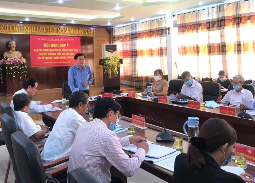 Phó Chủ tịch Ủy ban MTTQ Việt Nam tỉnh Lê Thái Bình phát biểu tại hội nghị góp ý báo cáo thẩm định hồ sơ và kết quả thực hiện các tiêu chí NTM kiểu mẫu của xã Đại Hiệp. Ảnh: V.A