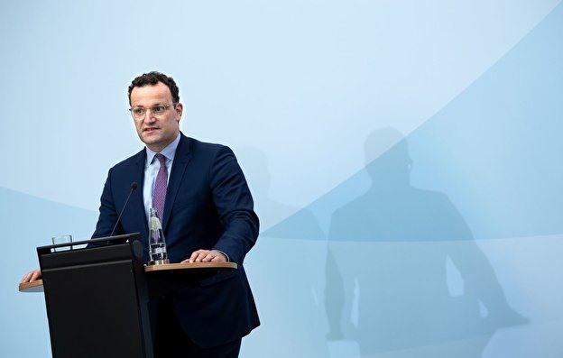 Bộ trưởng Y tế liên bang Đức Jens Spahn tại cuộc họp báo về việc thành lập trung tâm dữ liệu toàn cầu về đại dịch. Ảnh: @dpa