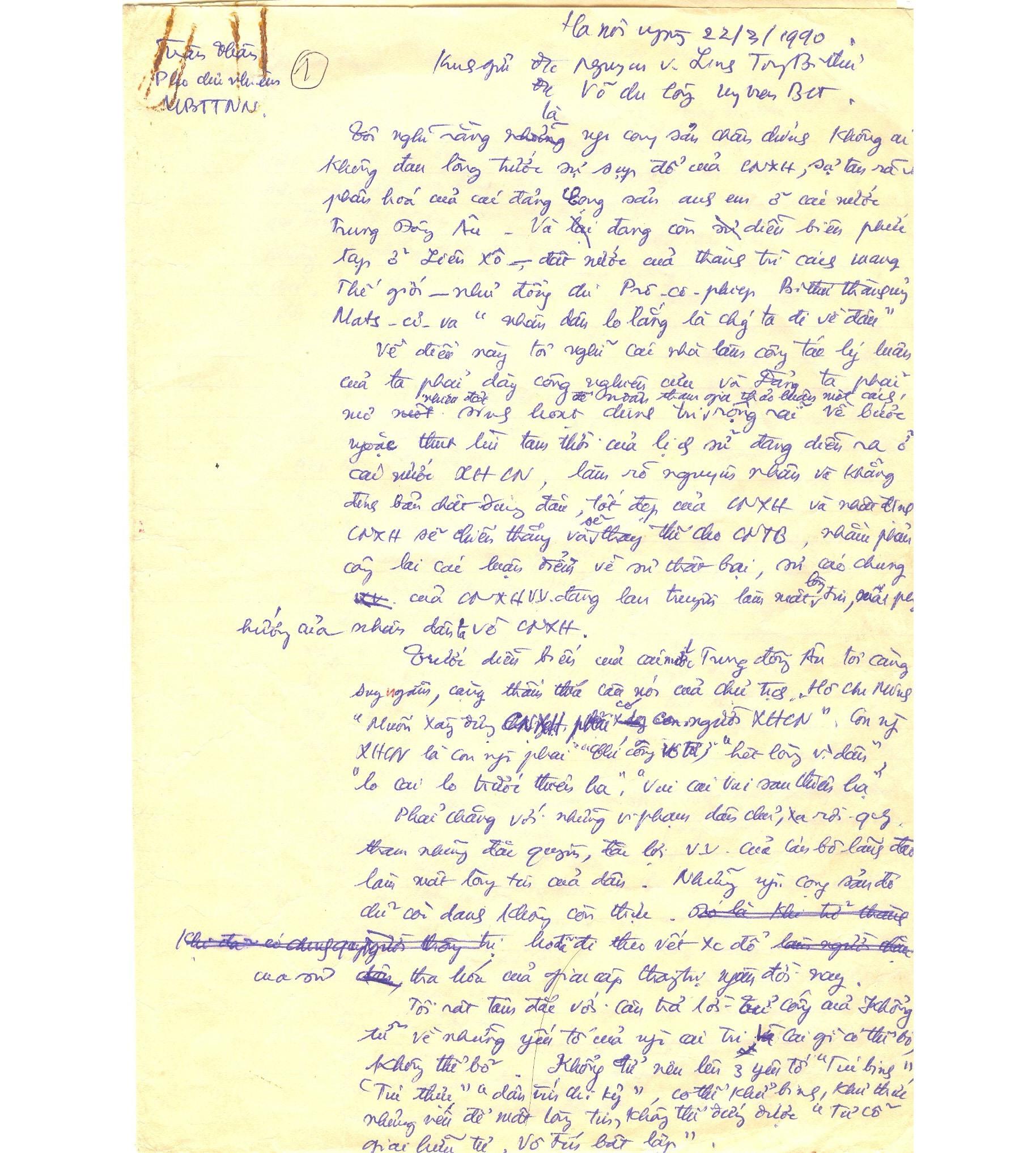 Bút tích lá thư đồng chí Trần Thận gửi đồng chí Nguyễn Văn Linh - Tổng Bí thư và đồng chí Võ Chí Công - Chủ tịch Hội đồng Nhà nước ngày 22-3-1990.