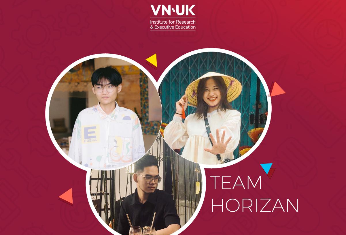 Các thành viên đội Horizan (từ trái sang ): Văn Tú, Xuân Quỳnh, Hồng Long. Ảnh NĐ