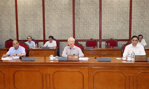 Tổng Bí thư Nguyễn Phú Trọng phát biểu kết luận cuộc họp - Ảnh: TTXVN