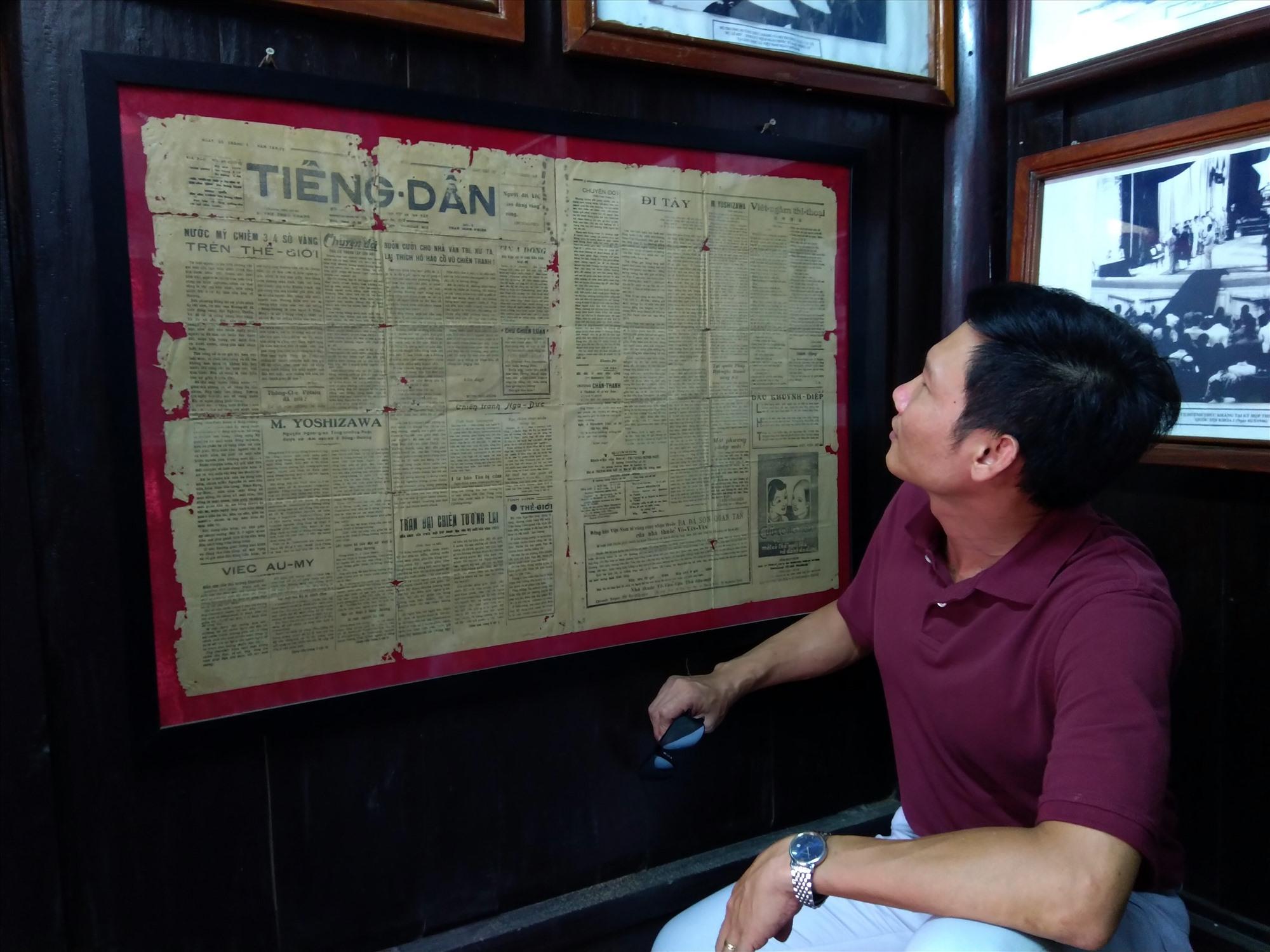 Tờ báo Tiếng Dân - kỷ vật trưng bày tại Nhà lưu niệm cụ Huỳnh Thúc Kháng ở Tiên Phước. Ảnh: LÊ VŨ