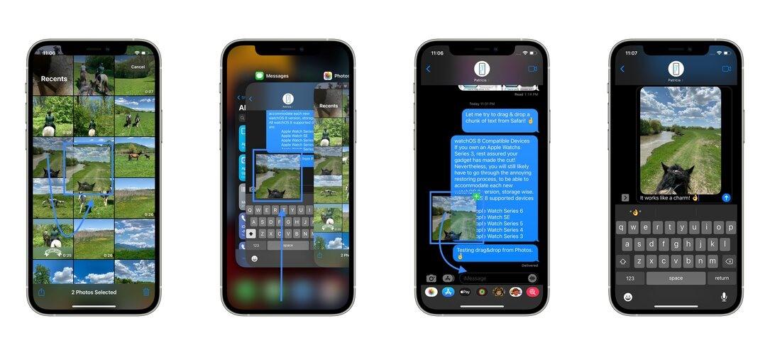 Cách kéo và thả dữ liệu trên iPhone. Ảnh: iphonetricks.org