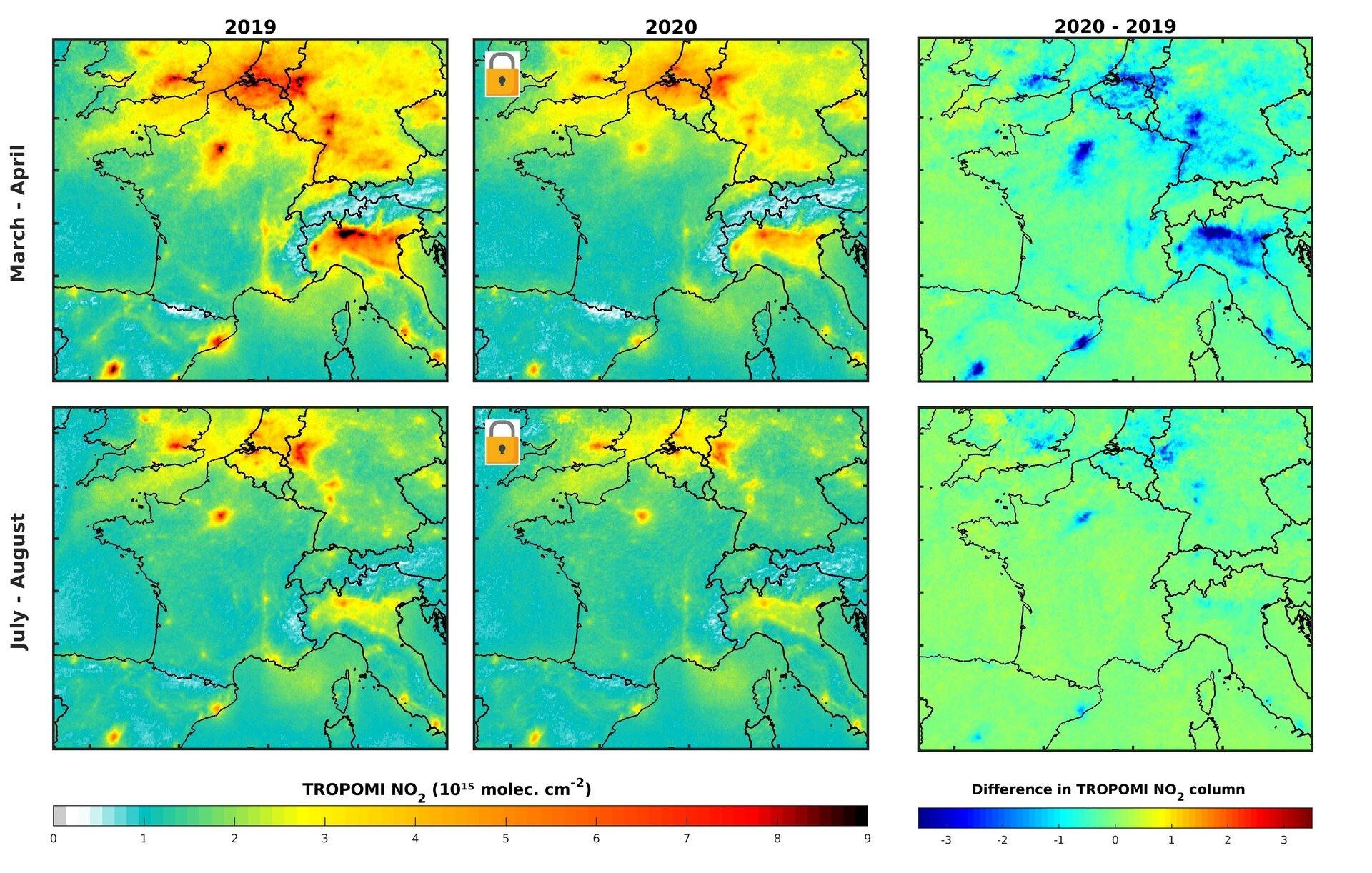Nồng độ NO2 tại châu Âu giảm rõ rệt sau khi áp dụng các lệnh phong tỏa vì Covid-19. Ảnh: Cơ quan vũ trụ châu Âu (ESA)